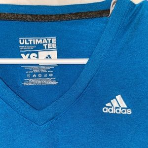 Blue V-neck Adidas short sleeve top